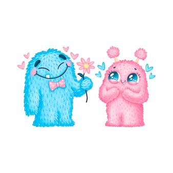 Ilustración del día de san valentín de monstruos de dibujos animados lindo. monstruos lindos enamorados aislados sobre fondo blanco.