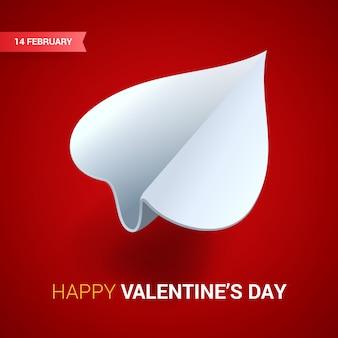 Ilustración del día de san valentín plano de papel blanco en forma de corazón o