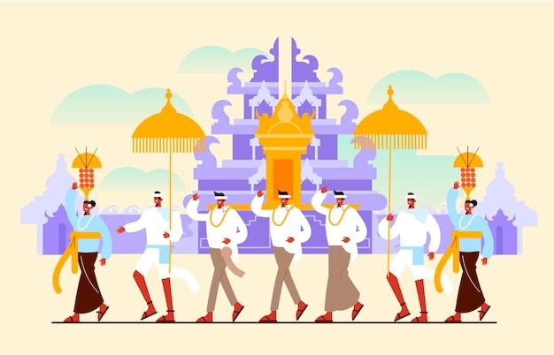 Ilustración del día del silencio de bali con personas y paraguas