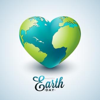 Ilustración del día de la tierra con el planeta en el corazón.