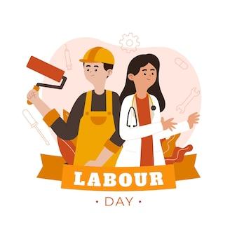 Ilustración del día del trabajo plano orgánico