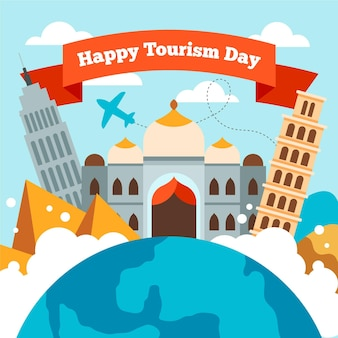 Ilustración del día del turismo dibujado con diferentes puntos de referencia.