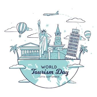 Ilustración del día del turismo con diferentes puntos de referencia.