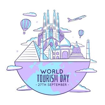 Ilustración del día del turismo con hitos mundiales.