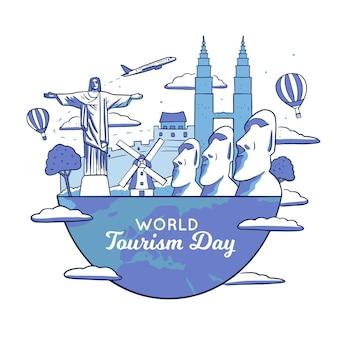 Ilustración del día del turismo con hitos.