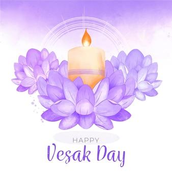 Ilustración del día de vesak en acuarela