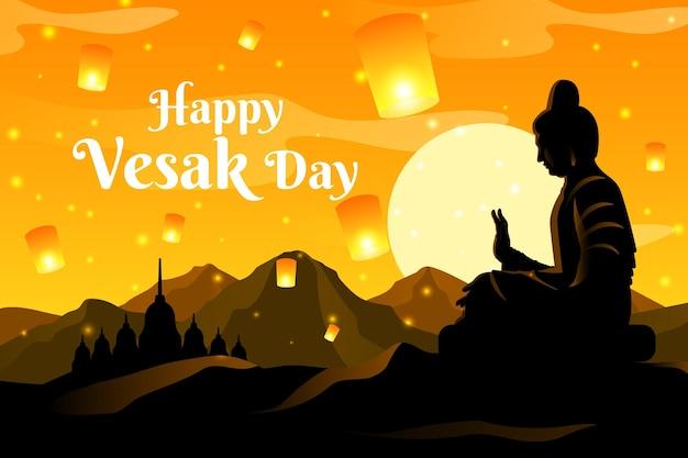 Ilustración del día de vesak degradado