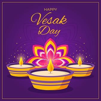 Ilustración del día de vesak plana