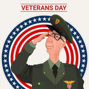 Ilustración del día de los veteranos de diseño plano
