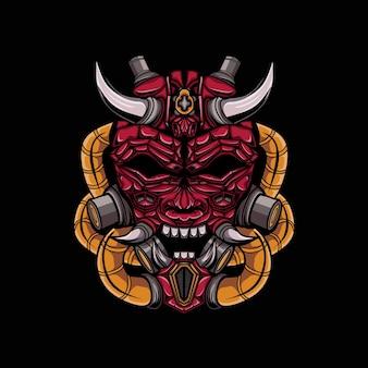Ilustración del diablo de cuernos malvado