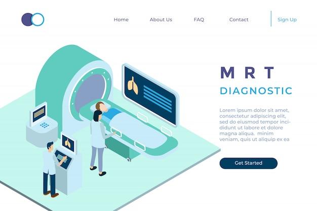 Ilustración de diagnóstico con mrt en estilo isométrico 3d