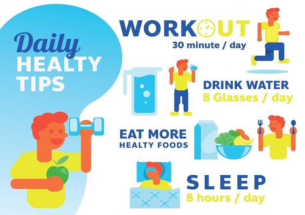Ilustración diaria de consejos saludables con diseño de personajes de hombre.
