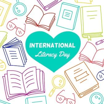 Ilustración dibujada del día de la alfabetización