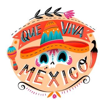 Ilustración dibujada del día de la independencia de méxico