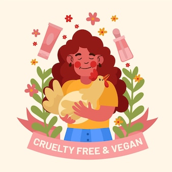 Ilustración dibujada libre de crueldad y vegana