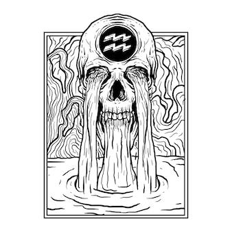 Ilustración dibujada a mano en blanco y negro acuario cráneo zodiaco