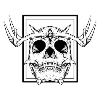 Ilustración dibujada a mano en blanco y negro cráneo del diablo con cuerno de venado y 3 ojos