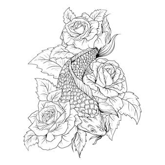Ilustración dibujada a mano en blanco y negro pez koi y rosa