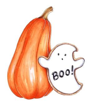 Ilustración dibujada a mano con calabaza de halloween y galletas fantasma