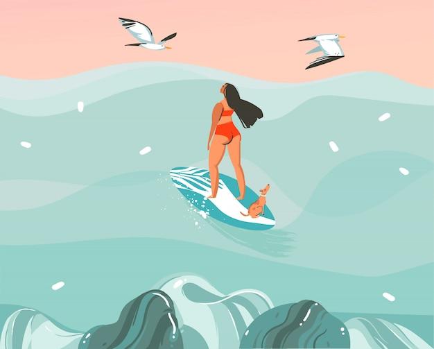 Ilustración dibujada a mano con una chica surfista navegando con un perro y gaviotas sobre fondo de paisaje de olas oceánicas