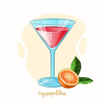 Ilustración dibujada a mano de copa de cóctel cosmopolita