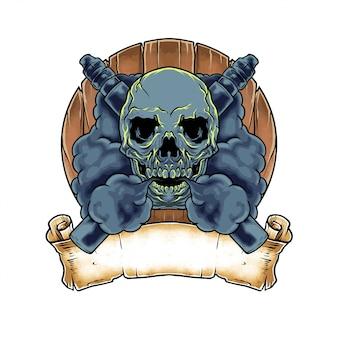 Ilustración dibujada mano cráneo vape