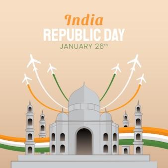 Ilustración dibujada a mano del día de la república de la india. ilustración vectorial