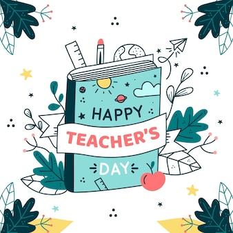 Ilustración dibujada a mano del evento del día del maestro