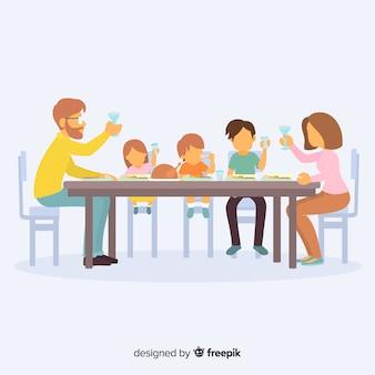 Ilustración dibujada a mano familia sentada alrededor de la mesa