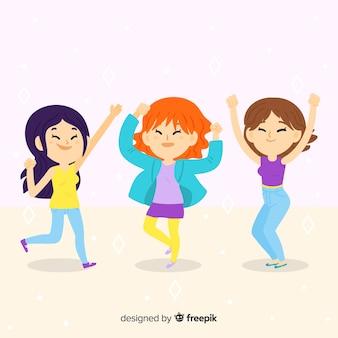 Ilustración dibujada a mano gente joven bailando