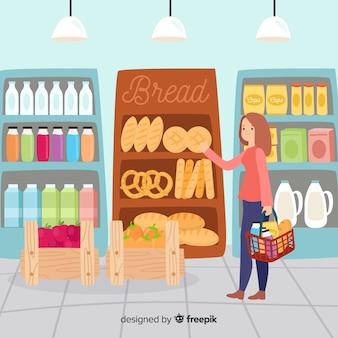 Ilustración dibujada a mano gente en el supermercado