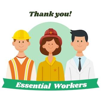 Ilustración dibujada a mano gracias trabajadores esenciales