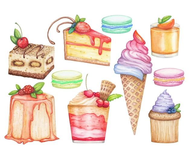 Ilustración dibujada a mano con hielo, pasteles dulces, muffins, macarrones aislados en blanco