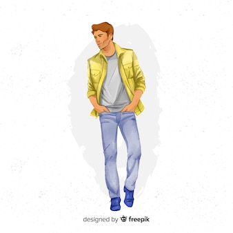 Ilustración dibujada a mano de hombre de moda