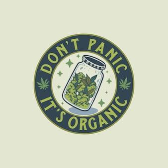 Ilustración dibujada a mano de la insignia de cannabis vintage