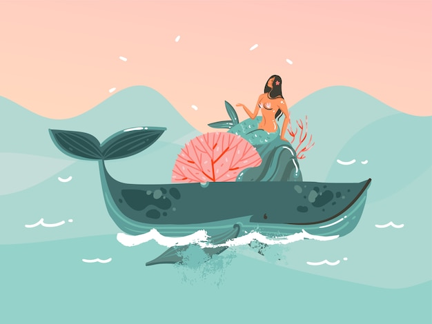 Ilustración dibujada a mano con joven mujer feliz belleza mermaind iin bikini nadando en la escena del océano ballena y puesta de sol sobre fondo de color azul