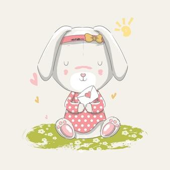 Ilustración dibujada a mano de un lindo conejito bebé sentado en el jardín.