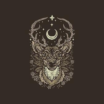 Ilustración dibujada mano majestuosa de la vendimia de los ciervos