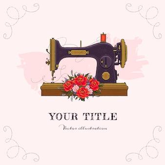 Ilustración dibujada a mano de máquina de coser y flores.