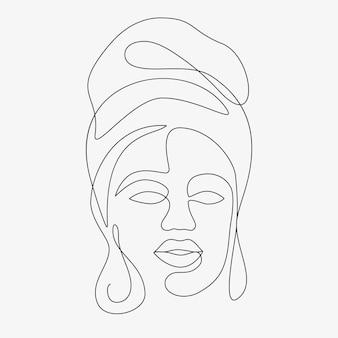 Ilustración dibujada a mano mínima de mujer. dibujo de estilo de una línea.