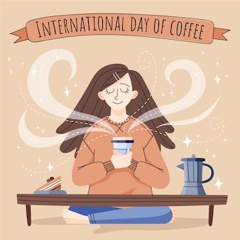 Ilustración dibujada a mano de mujer disfrutando de una taza de café