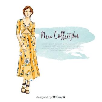 Ilustración dibujada a mano de mujer de moda
