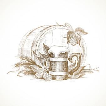 Ilustración dibujada a mano: naturaleza muerta con lúpulo, jarra de cerveza y trigo