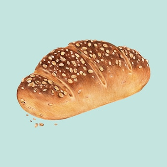 Ilustración dibujada a mano de pan multigrano recién horneado