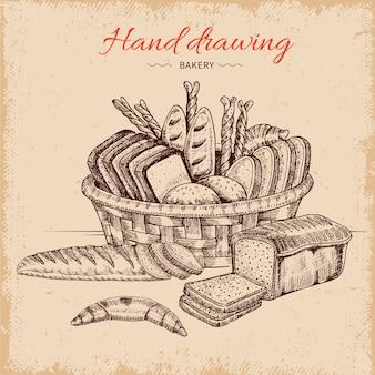 Ilustración dibujada a mano de panadería