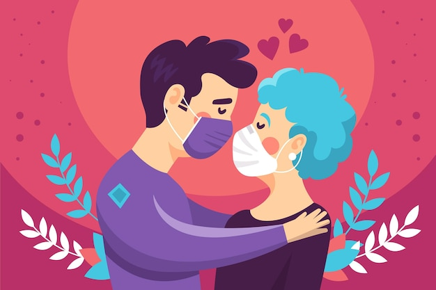 Ilustración dibujada a mano con pareja besándose con mascarillas médicas