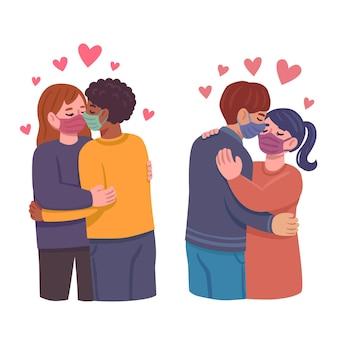 Ilustración dibujada a mano con parejas besándose con máscara de covid