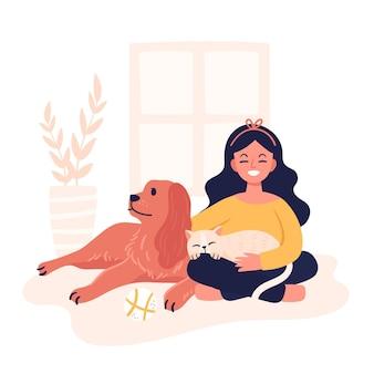 Ilustración dibujada a mano de personas con mascotas
