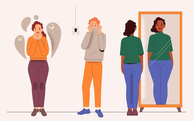 Ilustración dibujada a mano de personas con problemas de salud mental.