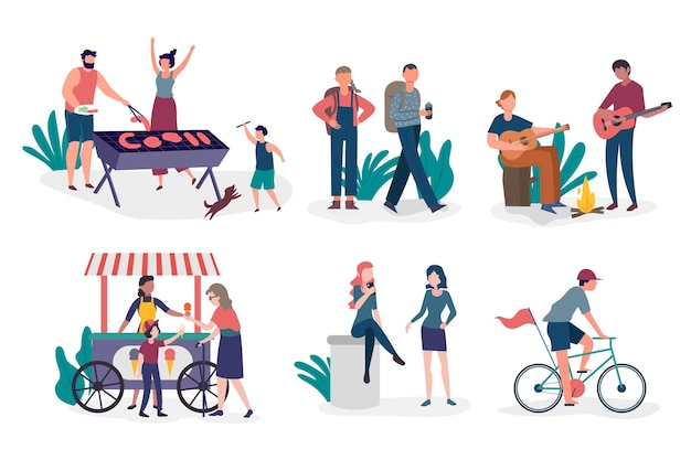 Ilustración dibujada a mano de personas que realizan actividades al aire libre.